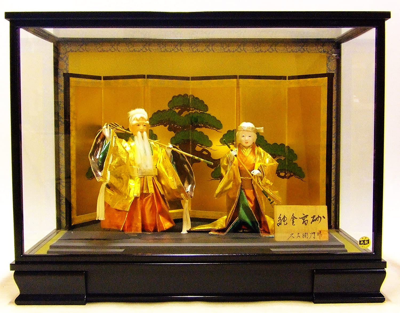高砂人形 三五純金 戸付 木製ケース付 間口63㎝×奥行33㎝×高さ48㎝   B07DCPC8S1