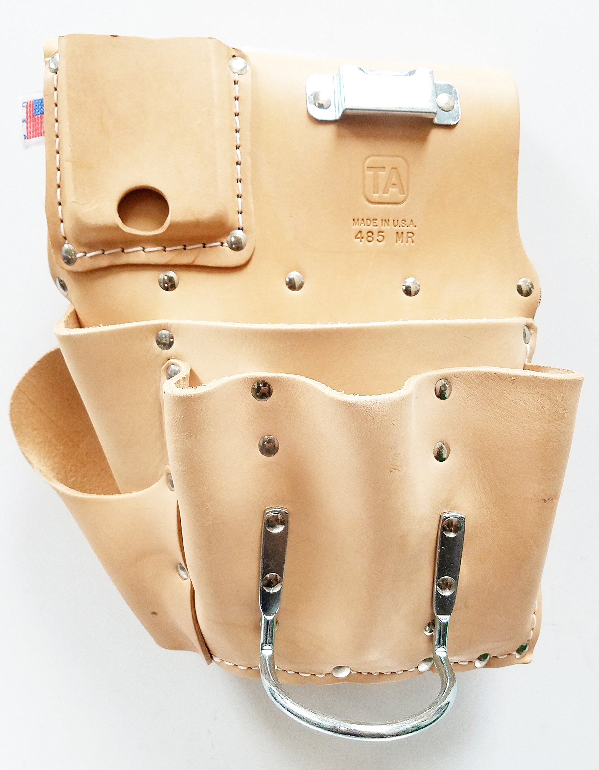 TA485MR, 7 Pocket Leather Drywall Tool Pouch - Right Hand, Made in USA
