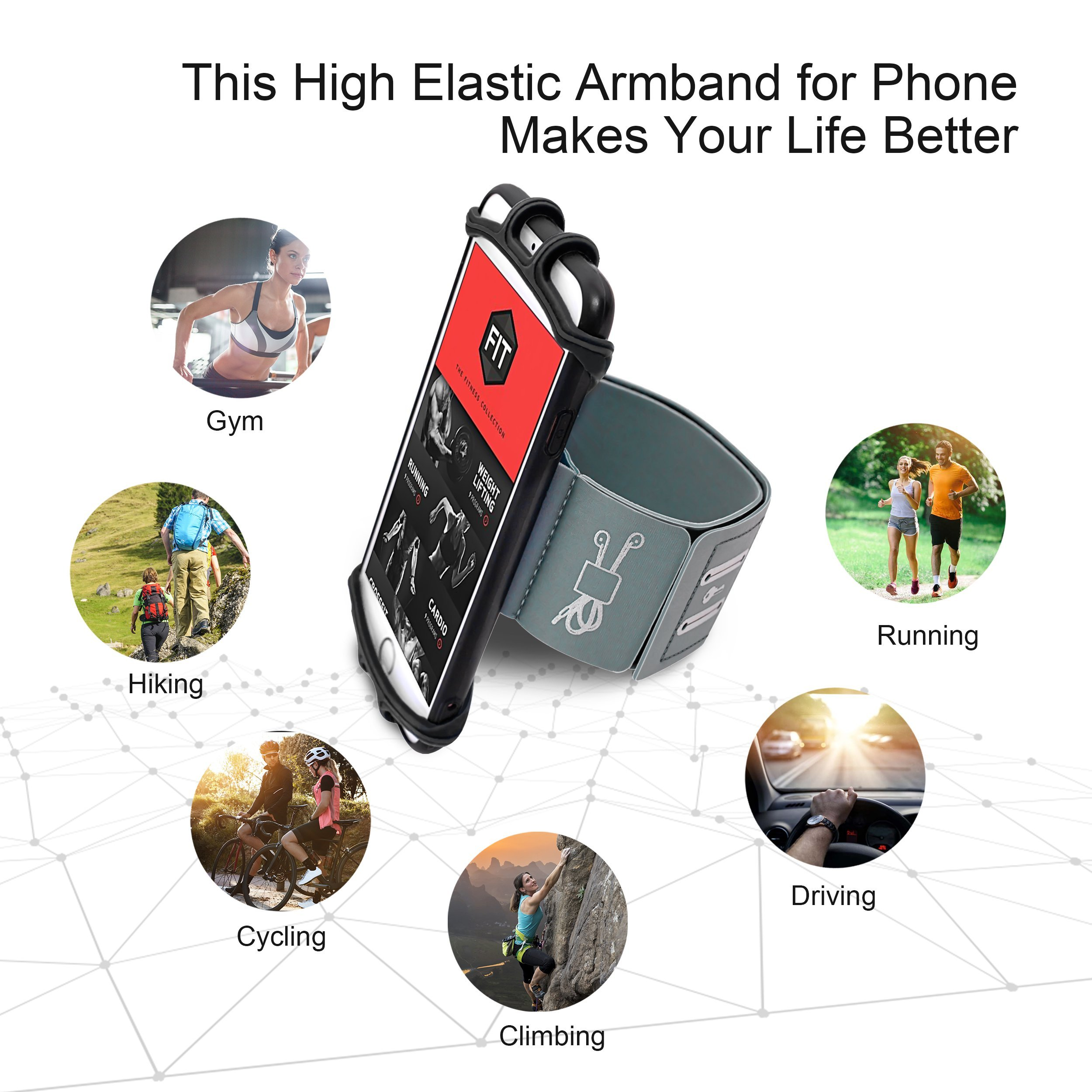 Running Armband for iPhone X/iPhone 8 Plus/ 8/7 Plus/ 6 Plus/ 6, Galaxy S8/ S8 Plus/ S7 Edge, Note 8 5, Google Pixel with Key Holder Phone Armband for Hiking Biking Walking Running(Black) by CICO (Image #7)