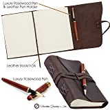 Leather Journal Gift Set RoseWood Pen - Handmade