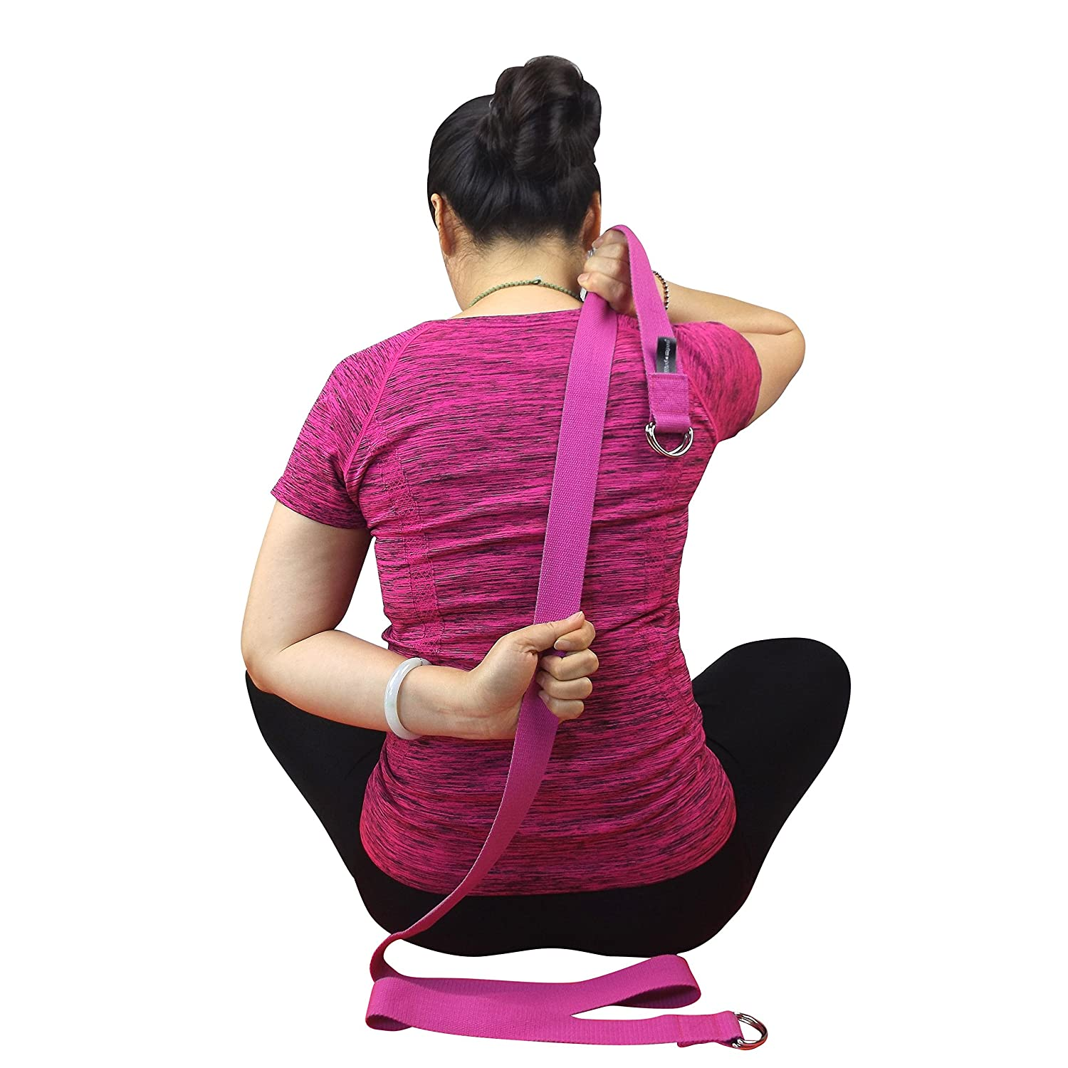 A 2-in-1 Extra Value Combination Wisdompro Yoga Strap for Stretching and Posing Doubles as A Yoga Exercise Mat Carrier Sling with 4 D-Rings