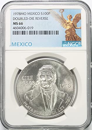 1978 MX Mexico Silver-Double Die Reverse 100 Pesos MS66 NGC