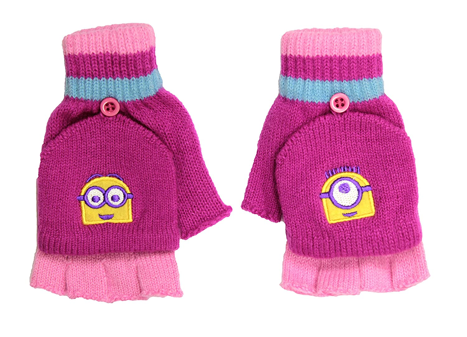 Girls Despicable Me Minions 2 In 1 Fingerless Gloves Ages 8-12 Years