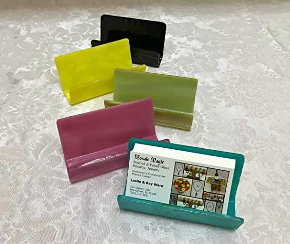 Amazoncom Fused Stained Glass Business Card Holder Handmade