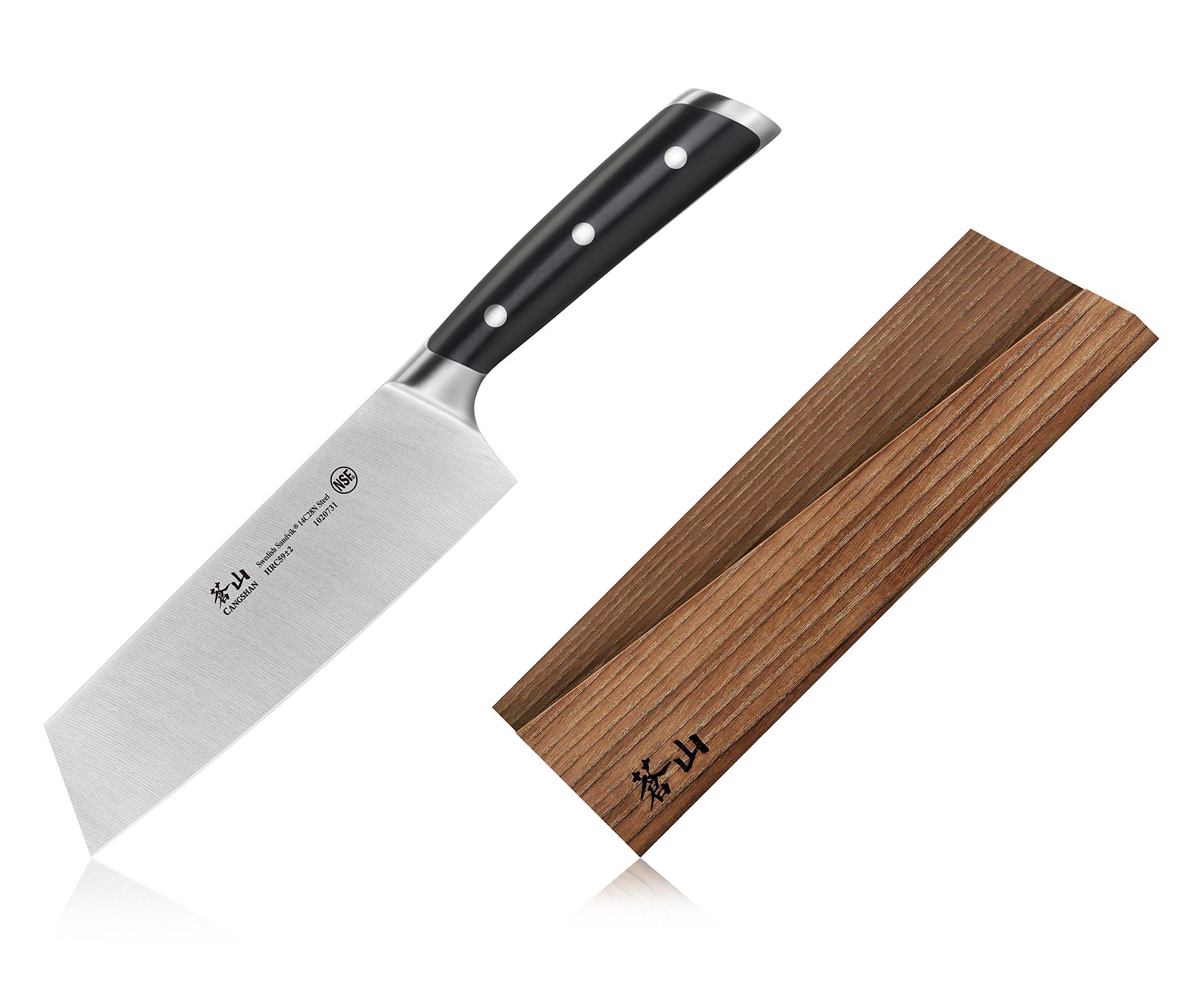 Cangshan TS Series 1020748 Swedish Sandvik 14C28N Steel Forged 7-Inch Nakiri Knife and Wood Sheath Set