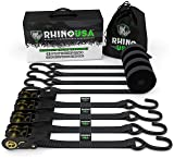 RHINO USA Ratchet Straps (4PK) - 1,823lb Guaranteed Max Break Strength, Includes (4) Premium 1in x 15ft Rachet Tie Downs with Padded Handles. Best for Moving, Securing Cargo