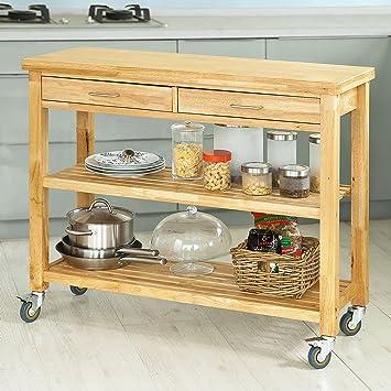 Super SoBuy® FKW24-L-N Chariot de Cuisine en bois d'hévéa Kitchen TD-04