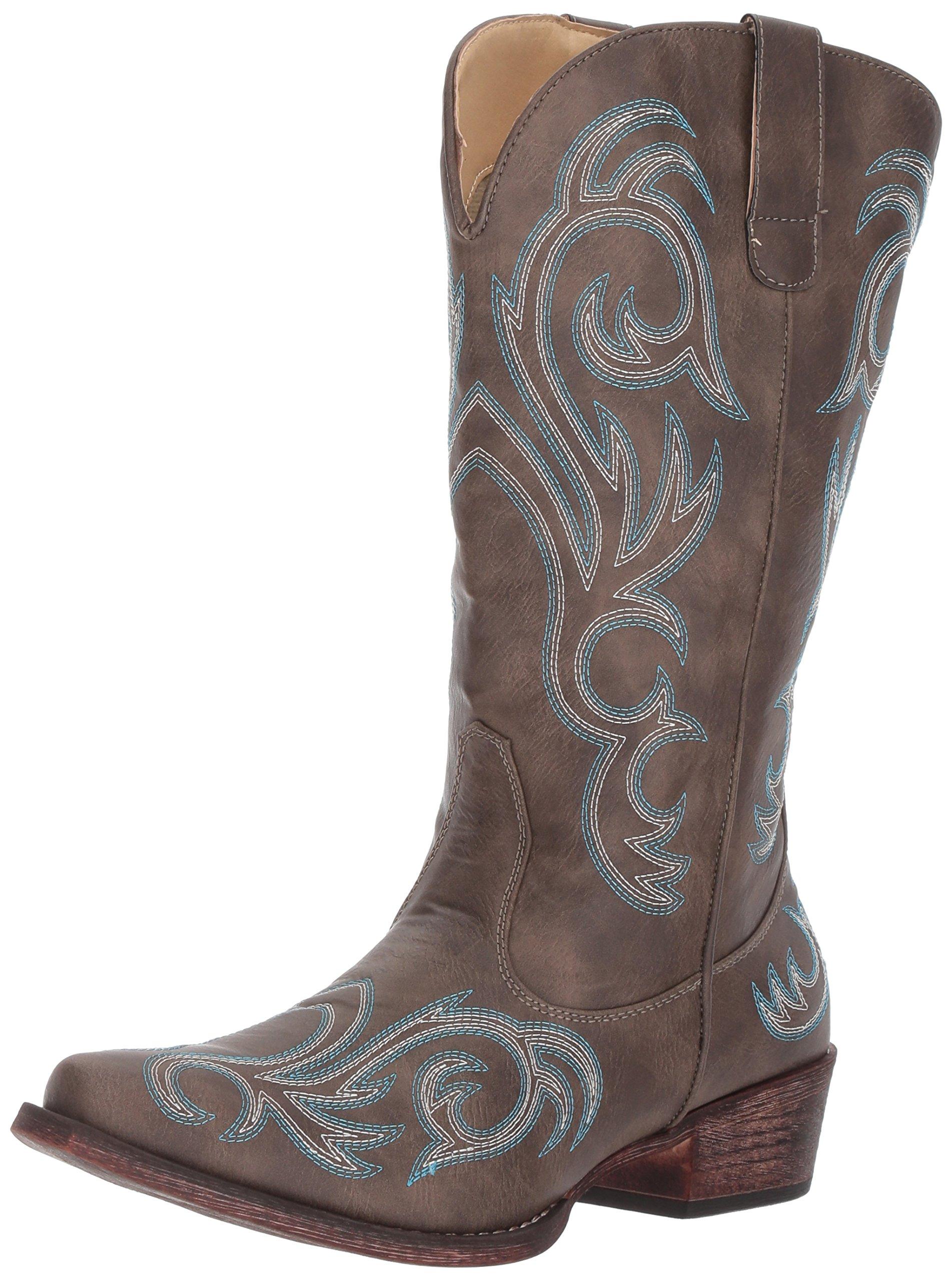 Roper Women's Riley Western Boot, Brown, 8 D US