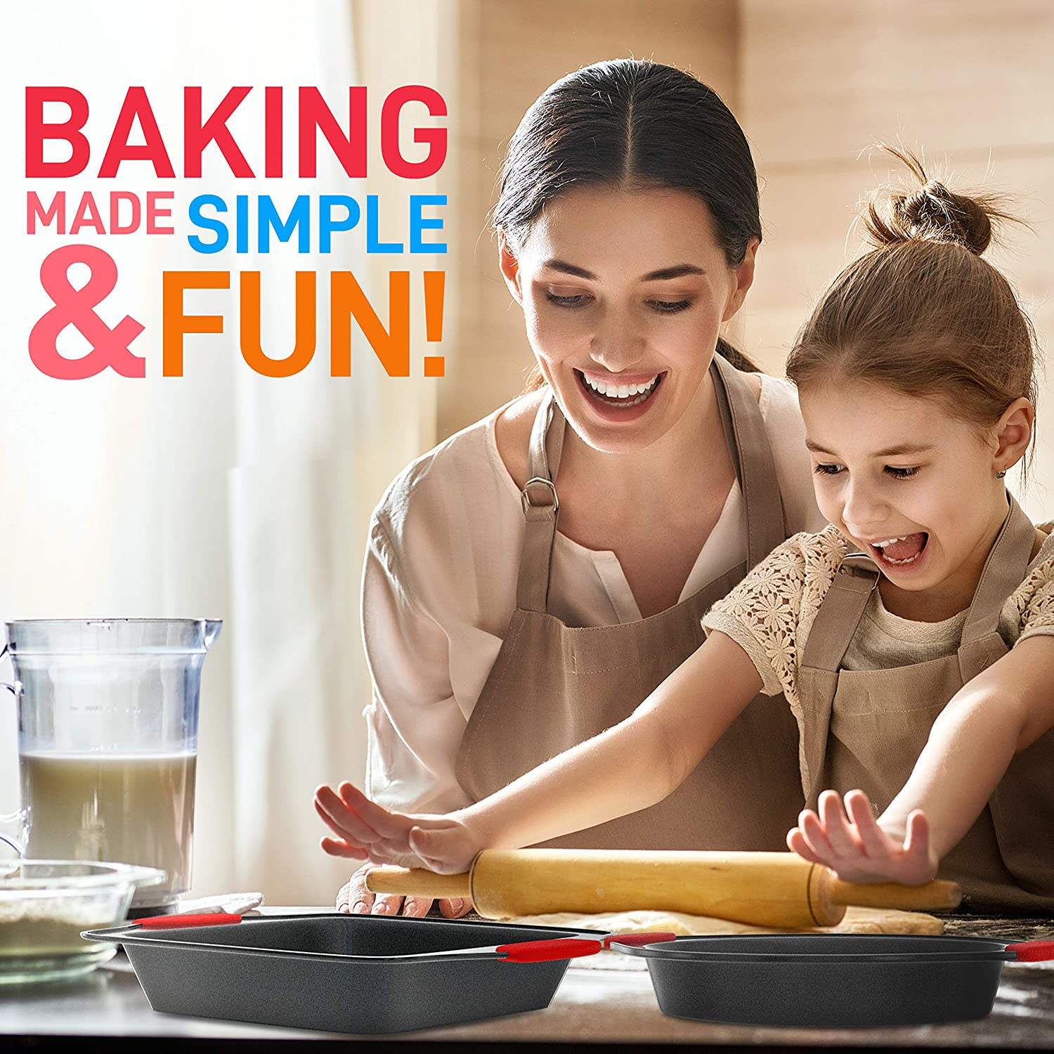 Black NutriChef NCSBS3S Kitchen Oven Baking Pans-Deluxe Nonstick Gray Coating Inside /& Outside Carbon Steel Bakeware Set with Red Silicone Handles 3-Pieces