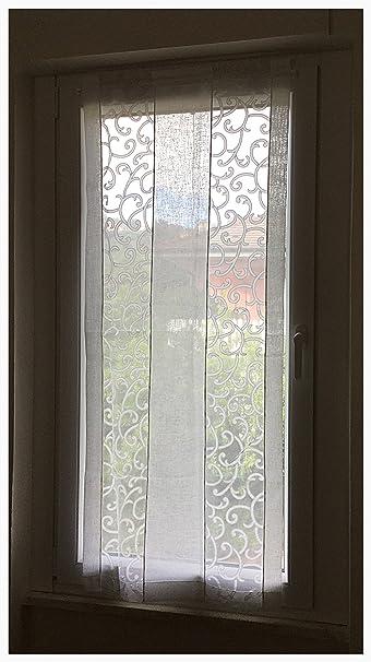 Coppia di tende a vetro finestre pannelli misto lino 60x240 bianco ...