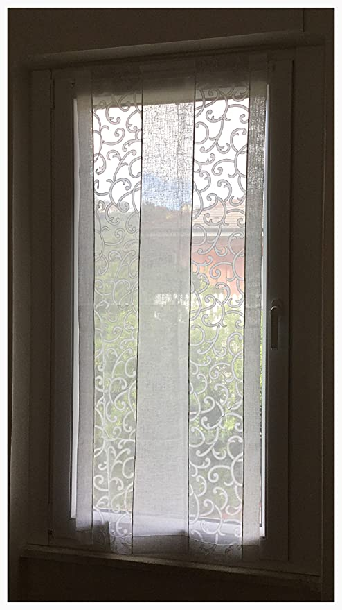 Coppia di tende a vetro finestre pannelli misto lino 60x150 bianco e ...