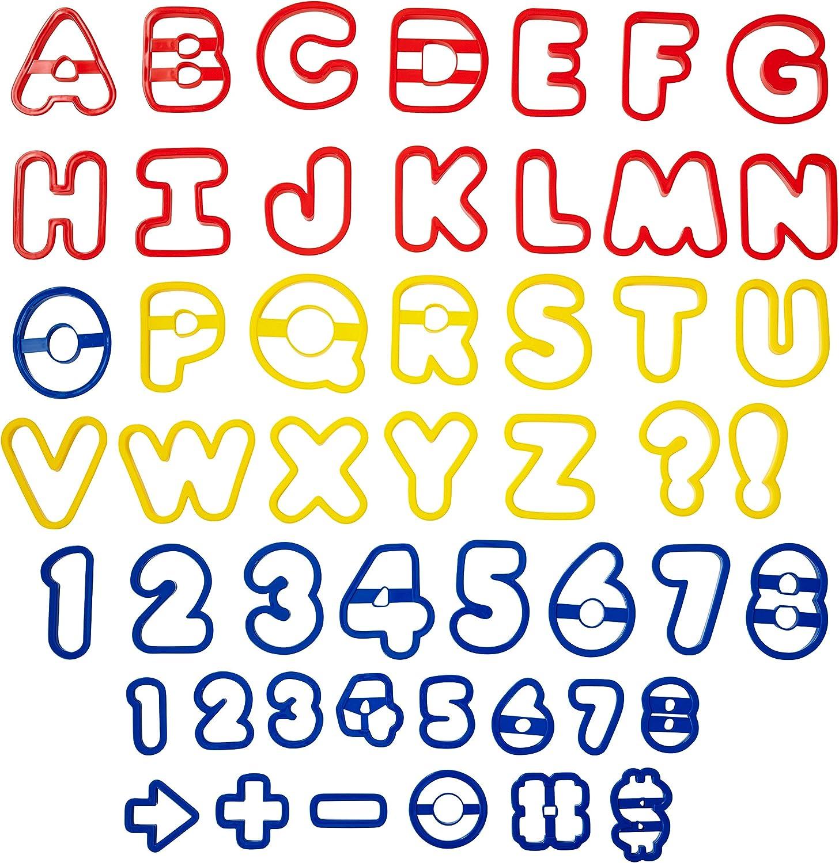 Wilton Pack de 50 cortadores de Galletas, diseño de Letras y números, Rojo, Amarillo y Azul, Centimeters