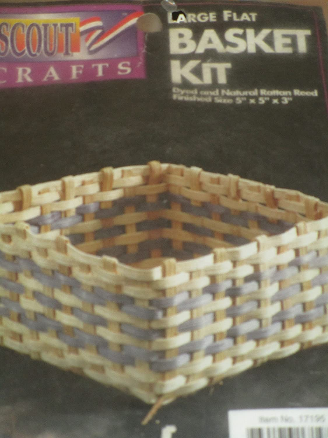 Large Flat Basket Kit ... Dyed and Natural Rattan Reed ... Finished Size 5' x 5' x 3' Scott Crafts