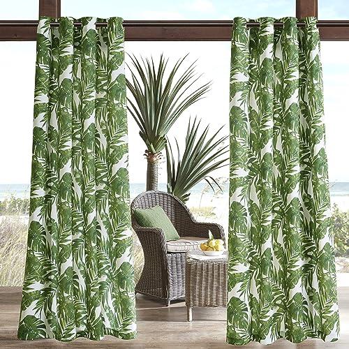 Madison Park Green Door, Casual Light Outdoor, Everett Botanical Fabric Window Curtains, 54X95, 1-Panel Pack, 54 W x 95 L