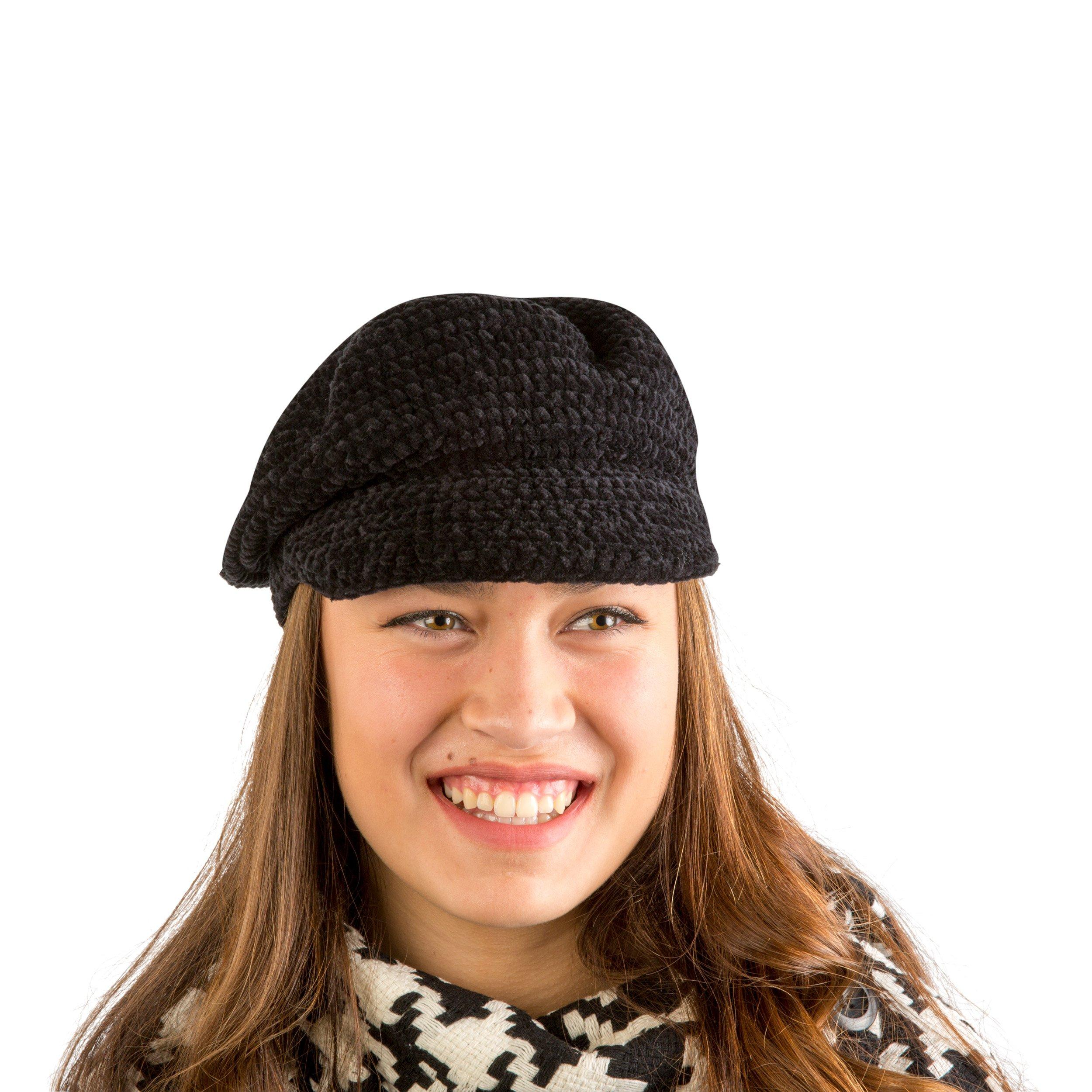 AUGUST HAT COMPANY Women's Black Chenille Lightweight Multi-Season Modcap Hat