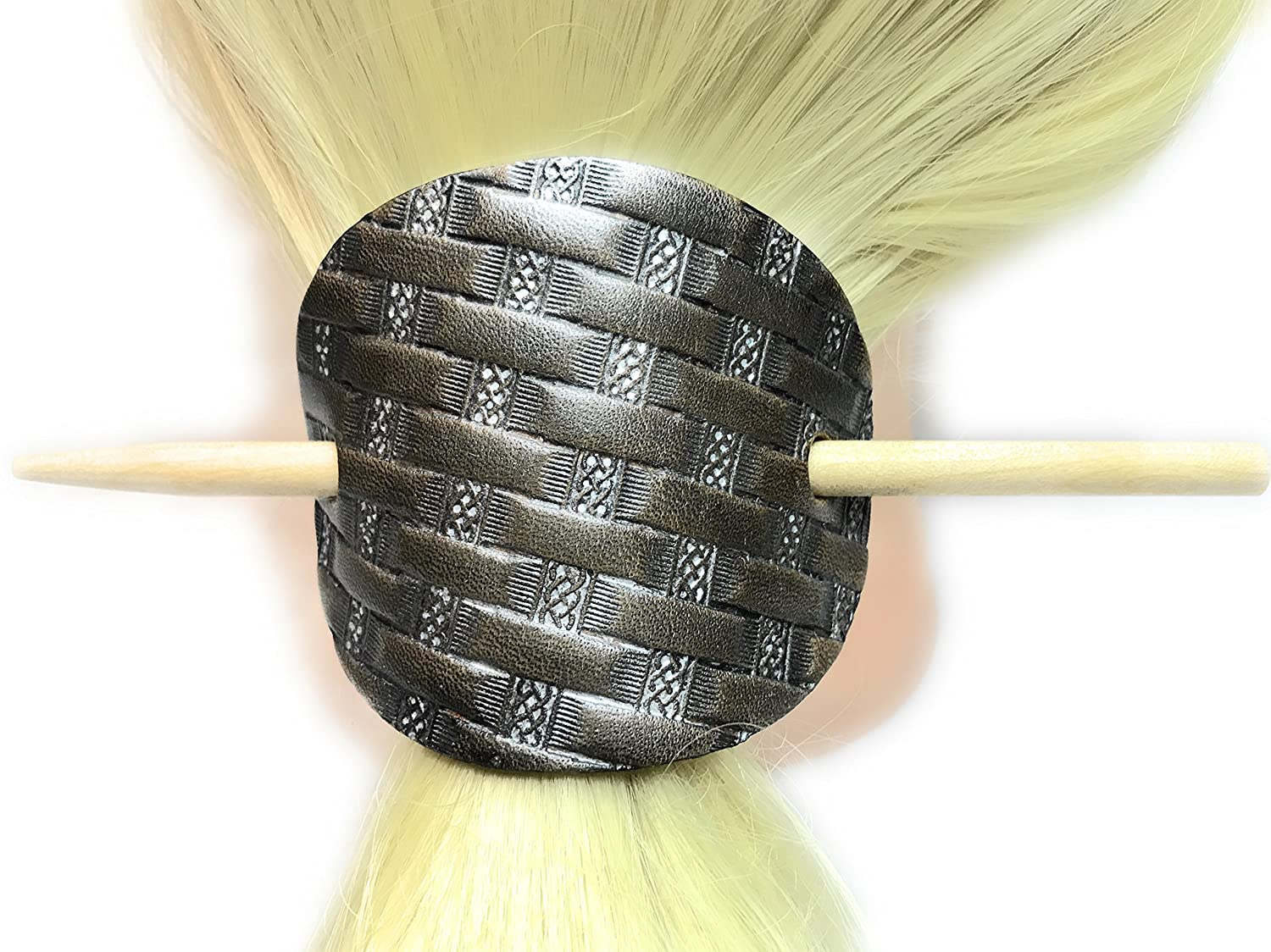 Small Hand-Tooled Celtic Basket Weave Leather Stick Barrette Hair Accessory - DeluxeAdultCostumes.com