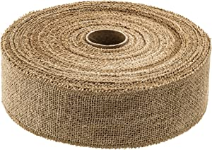 iPEGTOP Natural Burlap Ribbon, 2.5 Inch Wide 30 Yards Natural Jute Burlap Fabric Craft Ribbon Roll for Home Decor, Gift Wrapping, DIY Crafts, Christmas Wedding Decoration