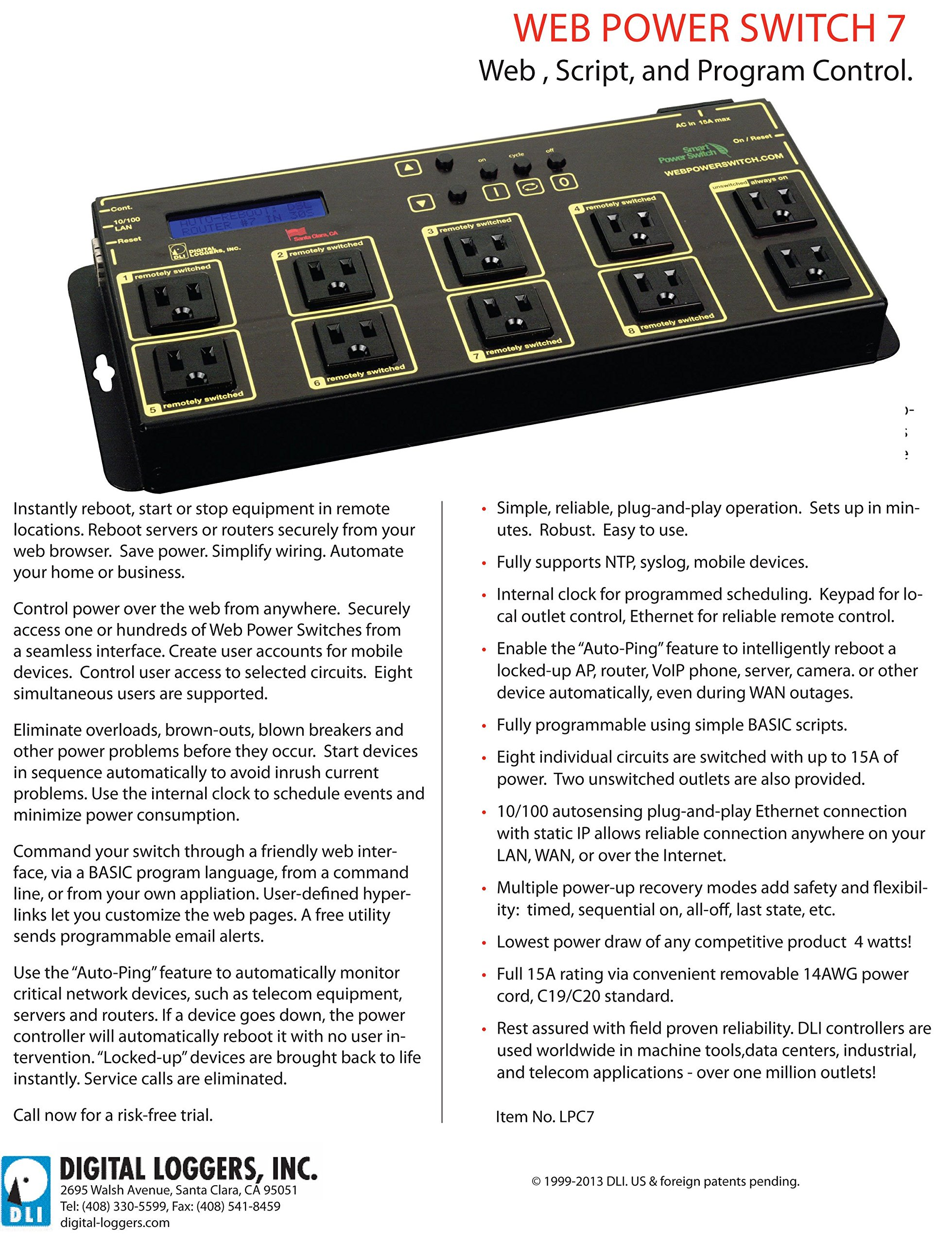 Web Power Switch 7 with HD Power Supply & Cord by DIGITAL LOGGERS (Image #3)