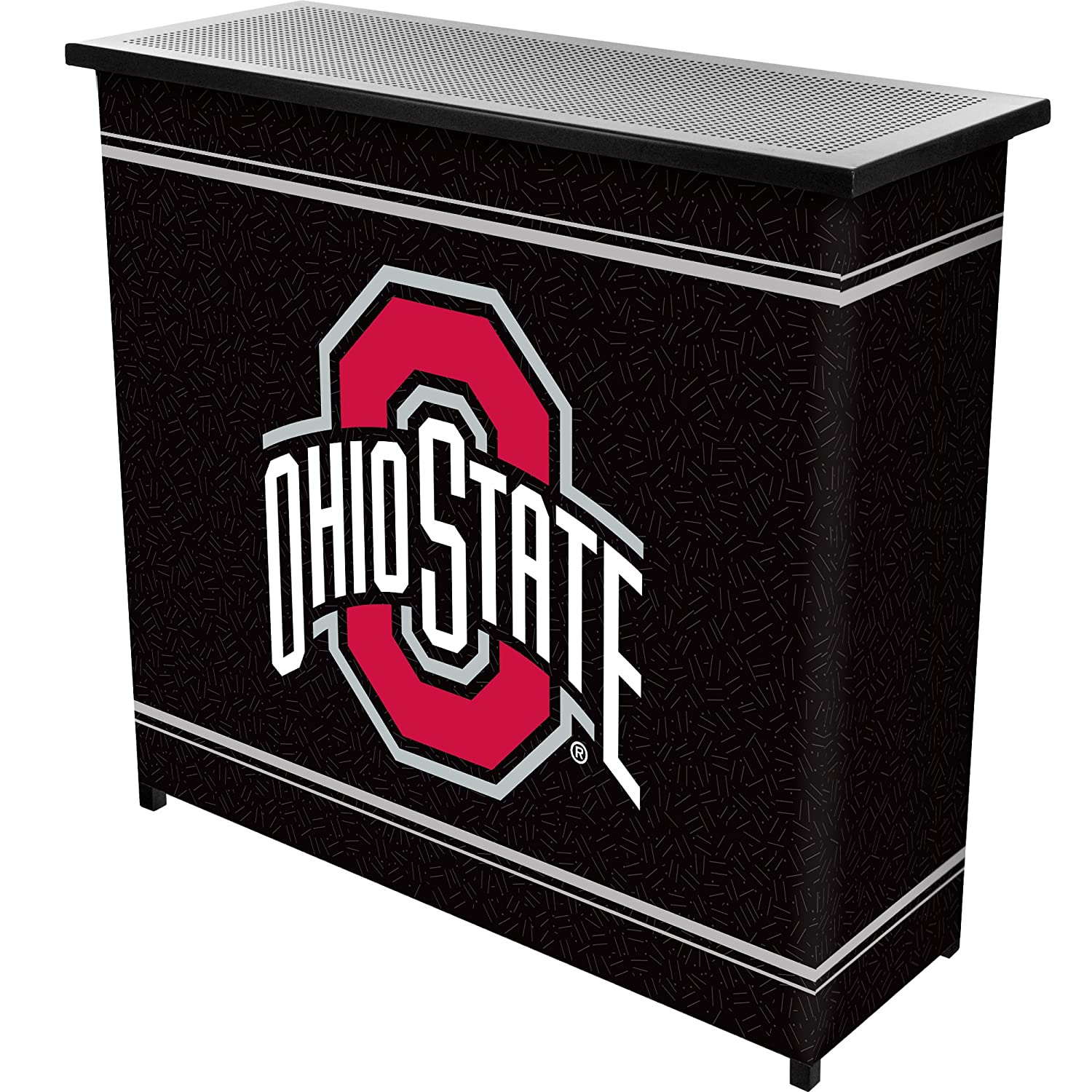 NCAA Ohio State University Two Shelf Portable Bar with Case Trademark Global LRG8000-OSU-BLK