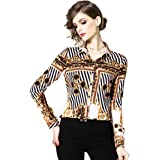 LAI MENG FIVE CATS Women's Elegant Shirt Casual Tie Neck Long Sleeve Blouse Top