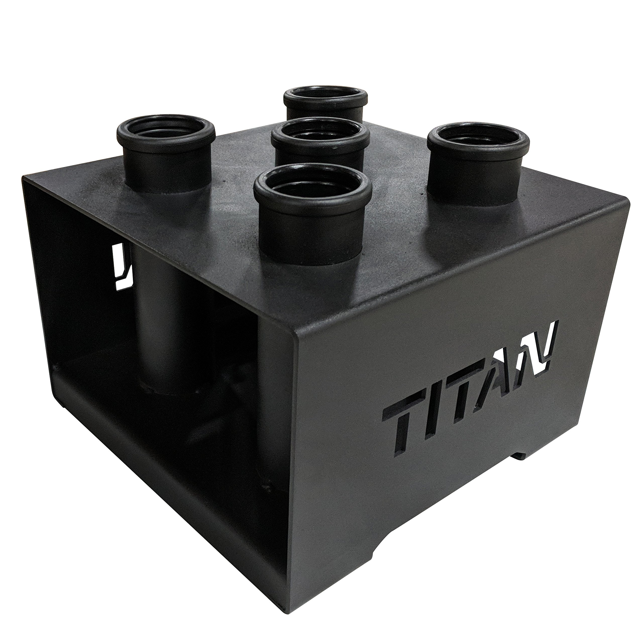 TITAN FITNESS Deluxe Olympic Barbell 5 Bar Holder Vertical Storage Rack 12''x12''