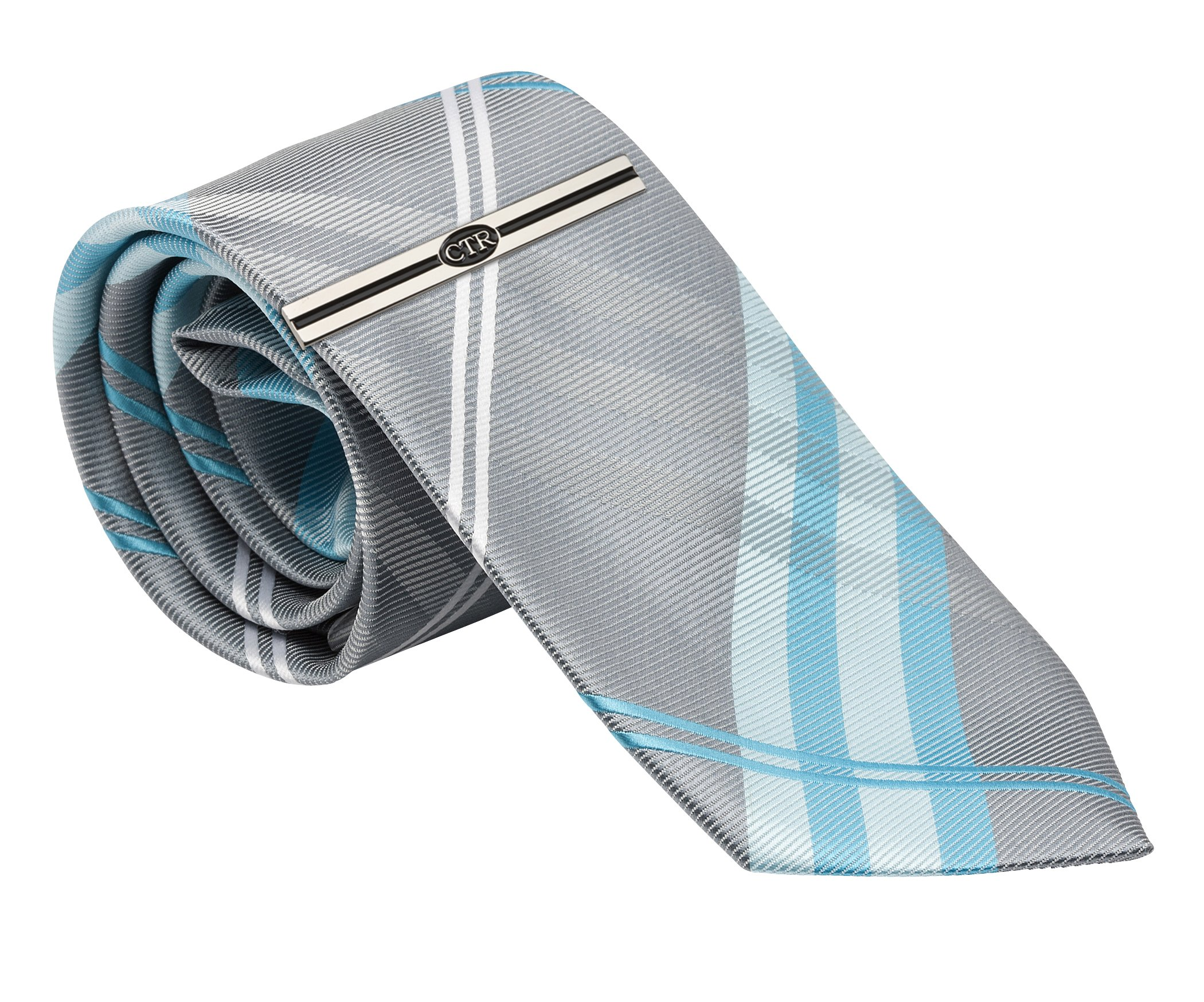 Boys Aqua Plaid Tie and CTR Tie Bar for Baptism, 45-inch