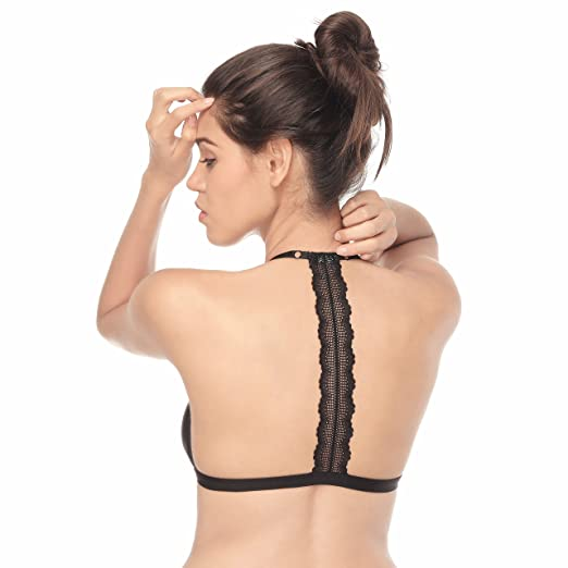 e6caaae7a2 Image Unavailable. Image not available for. Color  Tripetals Women s  Wireless Adjustable Front Closure Unpadded Lace T Back Racerback Bra ...
