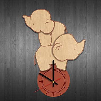 Elephant Figurines Design Wood Wall Clock