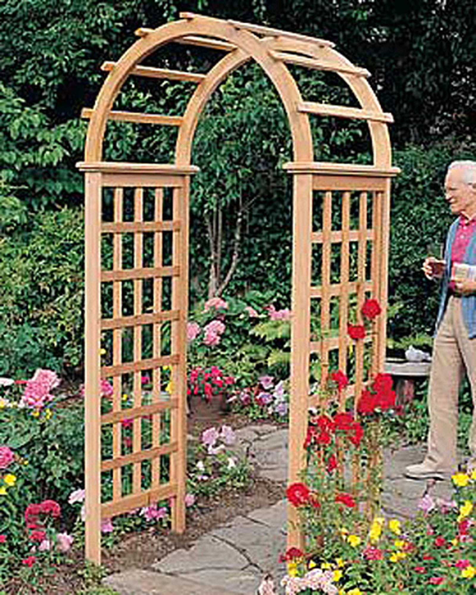 Arboria Victoria Garden Arbor Cedar Wood 7 Ft High  High With Arch Design by Arboria