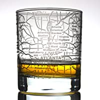 Greenline Goods Whiskey Glasses - 10 Oz Tumbler for Atlanta Lovers (Single Glass)| Etched with Atlanta Map| Old Fashioned Rocks Glass