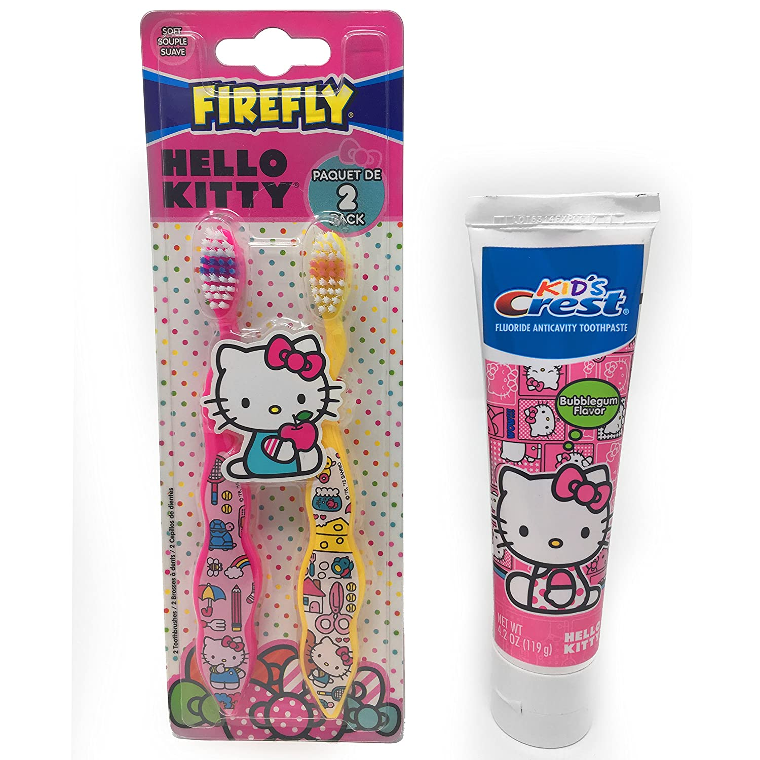 Amazon.com: Firefly Hello Kitty 2 Pack Soft Bristle Toothbrush Fun Child Safe and Crest Bubblegum Flavor Anti-cavity Flouride Healthy Toothpaste 4.2 oz ...
