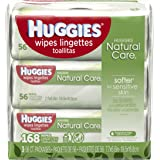 HUGGIES NATURAL CARE Fragrance-Free & Hypoallergenic Baby Wipes (3X Refill Packs, 168 Count)
