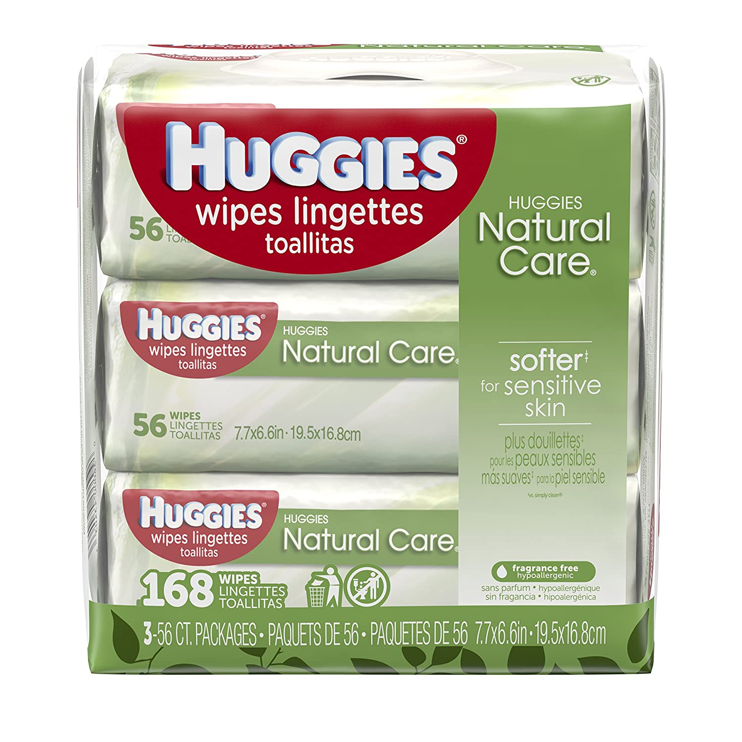 HUGGIES NATURAL CARE Fragrance-Free & Hypoallergenic Baby Wipes (3X Refill Packs, 168 Count) Kimberly-Clark Corp. CA