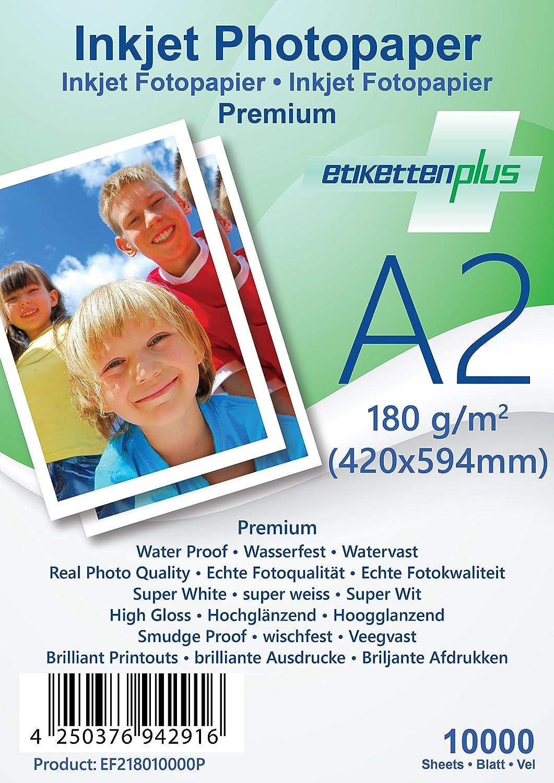 EtikettenPlus EtikettenPlus EtikettenPlus Ltd, 1000 Blatt, Premium Fotopapier, EF41801000P, A4 (210x297 mm) 180g qm hoch-glänzend (high-glossy), wasserfest, sofort wischfest für alle Tinten- und Fotodrucker B018NX3UXY | Outlet Store  27f0e5