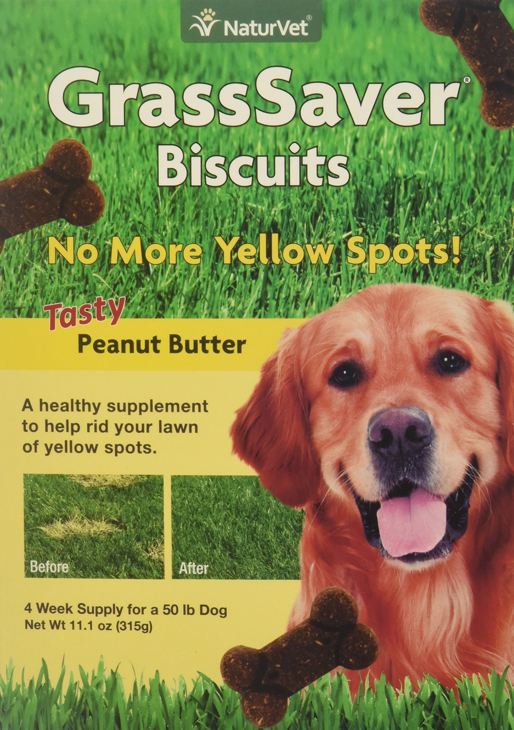 NaturVet GrassSaver Biscuits Peanut Butter Flavor for Dogs, 11 oz Biscuits, Made in USA