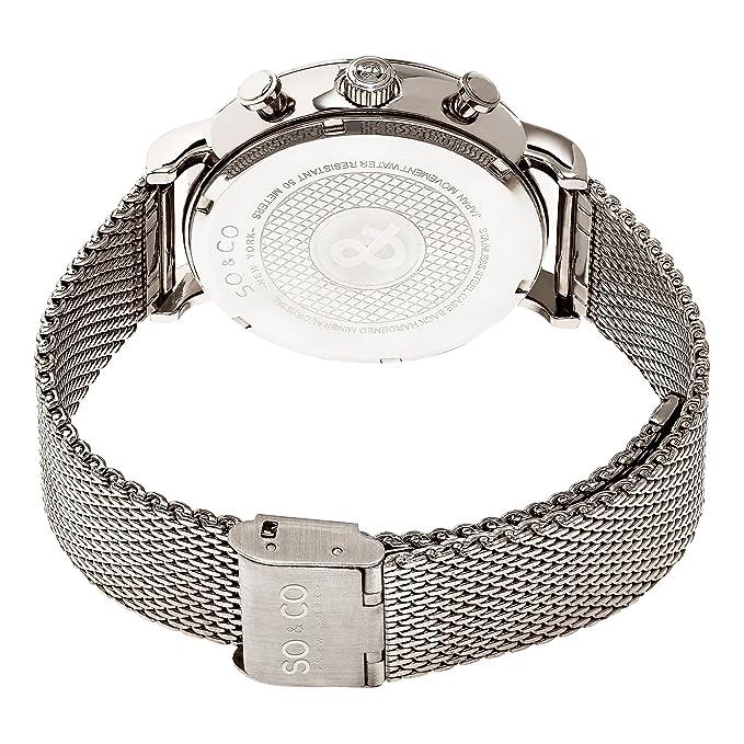 Amazon.com  SO   CO New York 5266M.1 Men s Silver Chronograph Stainless  Steel Mesh Bracelet Date 5 ATM Quartz Wrist Watch  SO   CO  Watches 4341ce22f7