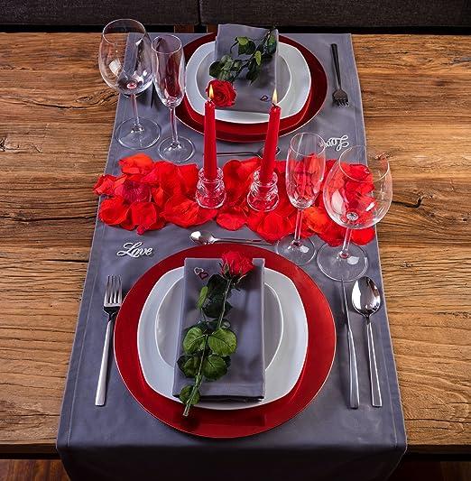 LOVERSpack Romantic Pack Hathor Gris/Rojo - con Este Pack romántico podrás Decorar tu Mesa y sorprender a tu Pareja con una Cena romántica en casa o en un Hotel. ¡Regala Momentos Especiales!: