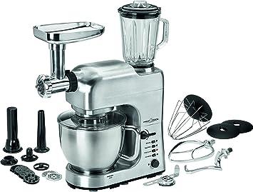 ProfiCook PC-KM 1004 Robot de cocina multifunción, 1400 W, 5 litros, acero inoxidable, 4 Velocidades, Plateado: Amazon.es: Hogar