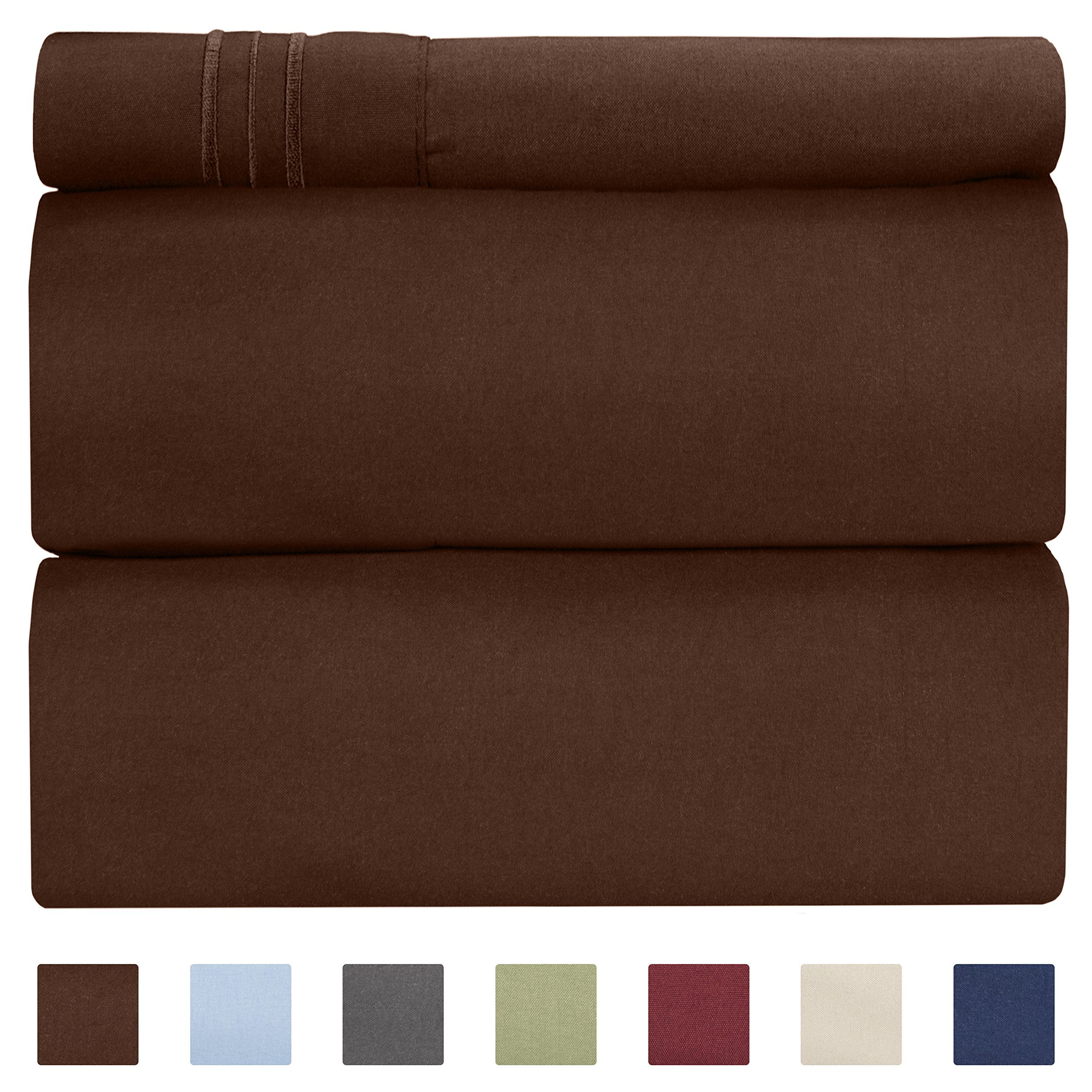 Twin XL Sheet Set - 3 Piece - Fits College Dorm Rooms - Hotel Luxury Bed Sheets - Extra Soft - Deep Pockets - Easy Fit - Breathable & Cooling - Brown Chocolate Bed Sheets - Twins