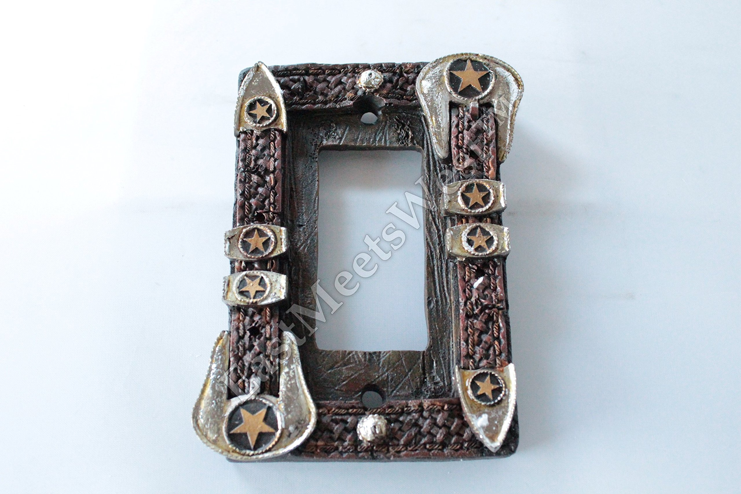 Western Cowboy Star Belt Buckle Switch Plate Covers Electric Outlet Rustic Wood Look Decor (Single Rocker)