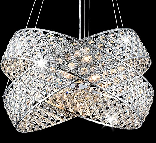 LED Diseño Cristal plafón 2 anillos lámpara de techo lámpara ...