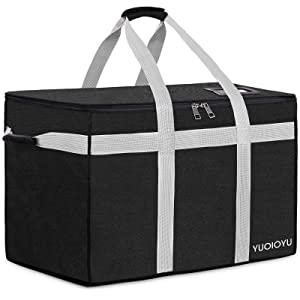 YUOIOYU Insulated Food Delivery Bag Pizza Delivery Bag Restaurant Supply Bag for Hot/Cold Food Delivery, Uber Eats, Catering Supply, Family Shopping, Lunch Container Store, Grocery Transport - 80L, Black
