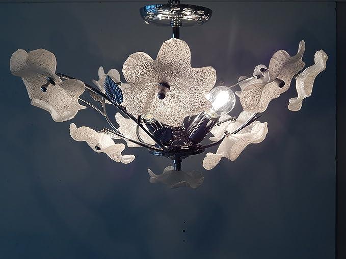 Plafoniera Fiori Murano : Plafoniera con decori in vetro di murano idfdesign