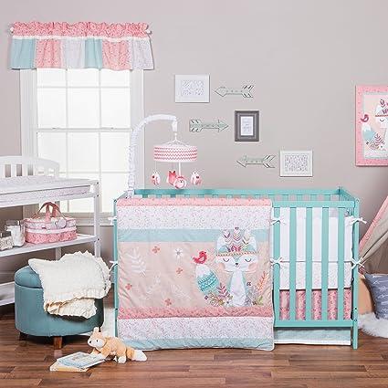 amazon com 3 piece pink white blue baby girl animal crib bedding