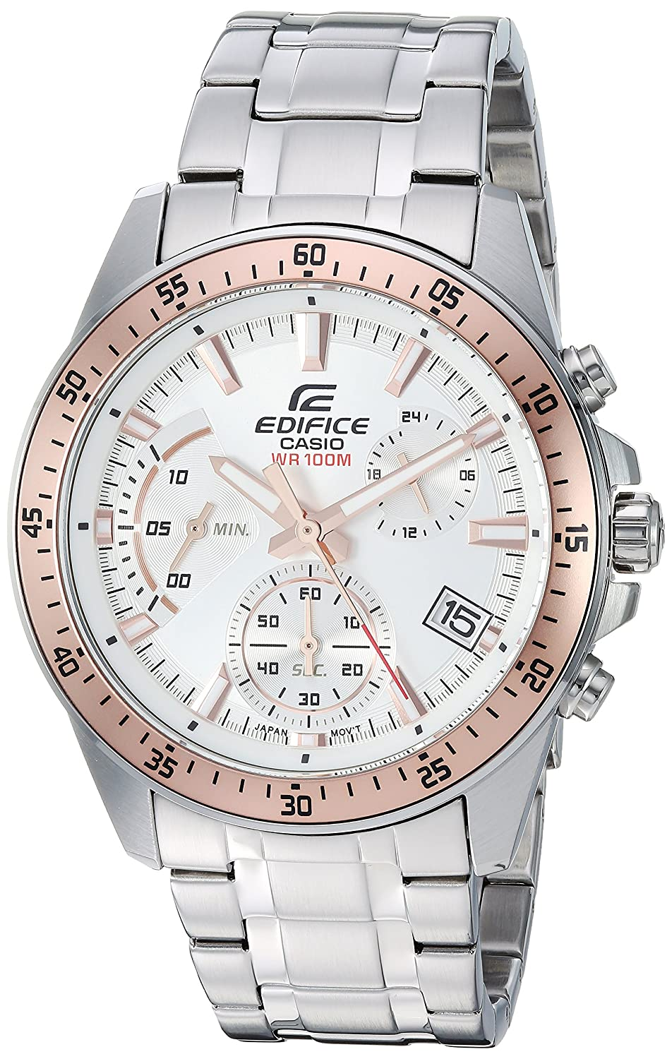 Amazon.com: Casio Mens Edifice Quartz Watch with Stainless-Steel Strap, Silver, 21.5 (Model: EFV-540D-7BVUDF: Watches