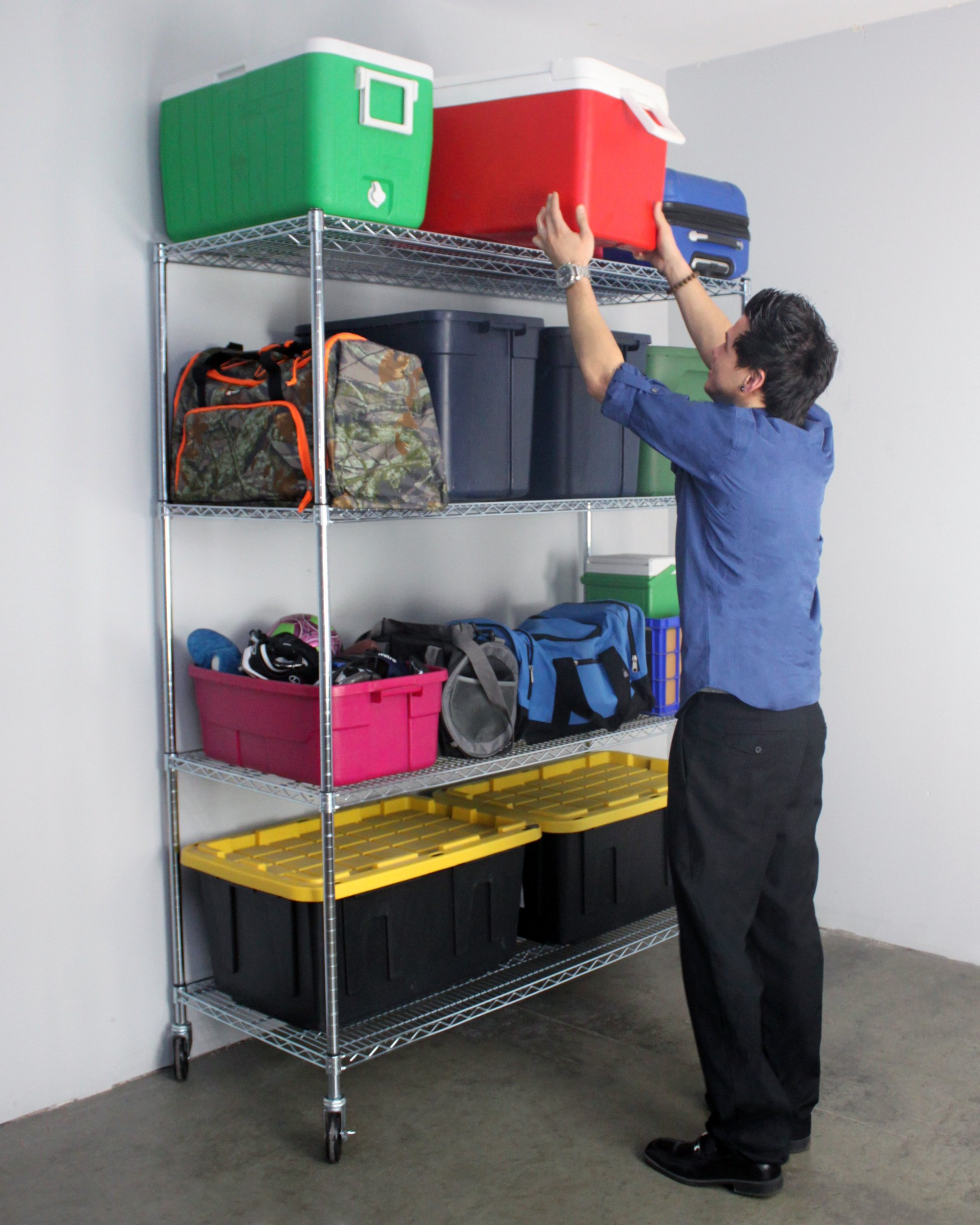 SafeRacks NSF 4-Tier Wire Shelving Rack with Wheels - 24'' x 60'' x 72''