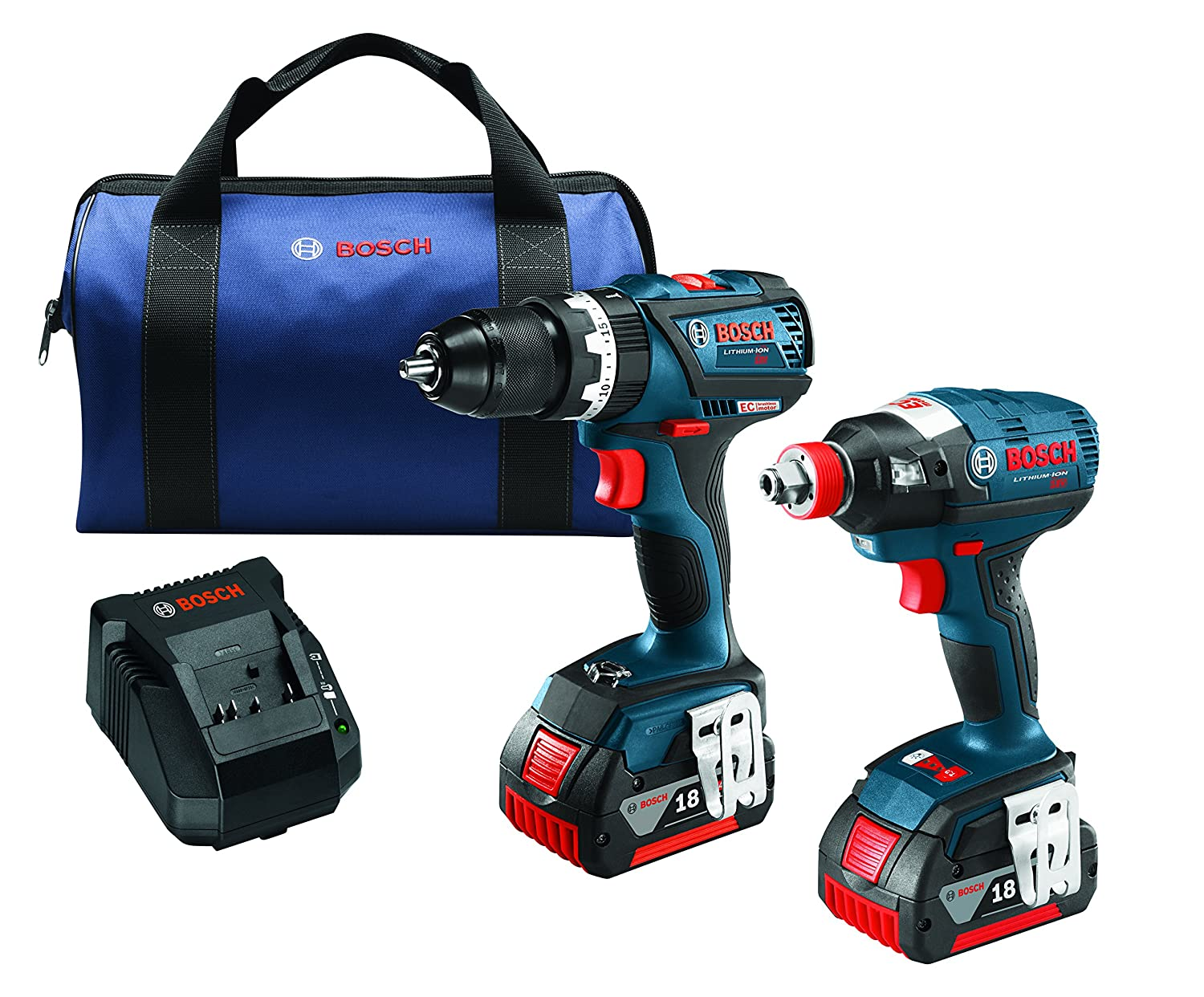 Bosch CLPK251-181 18V 2 Tool Combo Kit with 1 4 and 1 2 Socket Ready Impact Driver and 1 2 Hammer Drill Driver, Blue
