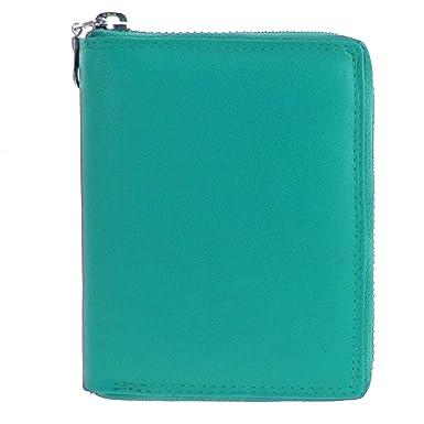 flevado Herren Schwarzes Leder Portemonnaie - Geldbörse mit Metall- Reißverschluss Unisex Brieftasche Hochformat (blau e1f9352bed