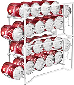 Simple Trending 2-Pack Soda Can Beverage Dispenser Rack, Stackable Can Storage Organizer for pantry or Refrigerator- Dispenser 12 Standard Size 12oz Soda Cans or Canned food, White