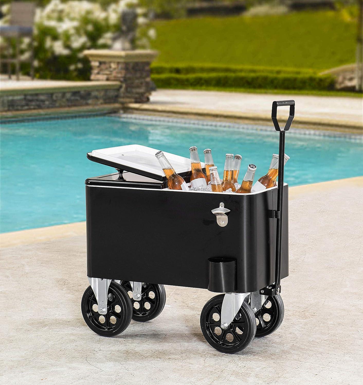 Sunjoy Audrey 60 Quart Cooler Cart, Black